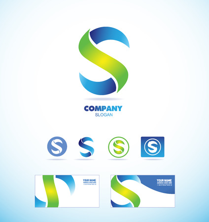 company logo icon element template alphabet letter S colors blue green set