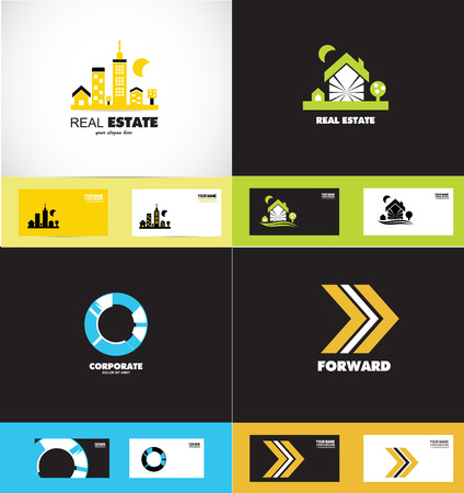 arrow home: icon element template set real estate house home circle corporate arrow moving forward concept