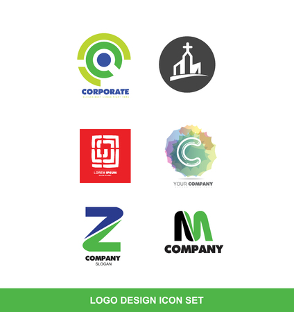 company logo icon element template various design set corporate circle church christian christianity religion labirinth alphabet letter c z m pastel green blue red
