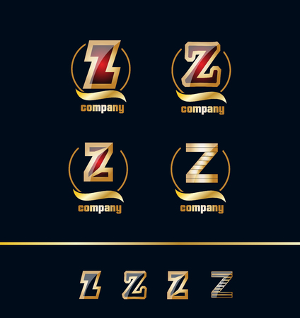 ruby stone: company logo icon element template alphabet letter Z set gold golden ruby stone rubine