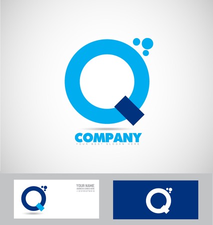 simple logo: company logo icon element template alphabet letter q blue simple abstract