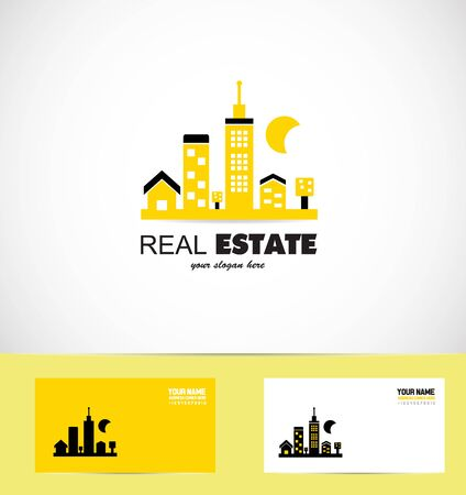 neighbourhood: icon element template real estate yellow city cityscape neighbourhood block Illustration