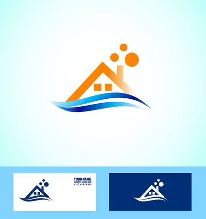 icon element template real estate house realty blue orange