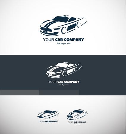 car business: company logo icon element template car shape contour sport fast supercar auto automobile transportation repair shop Illustration