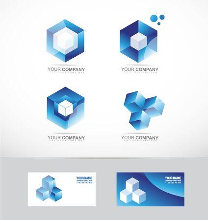 société losanges logo icône élément modèle de cube 3D mis