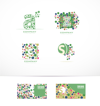letter a z: company logo icon element template letter a z c s bubble dotted circle