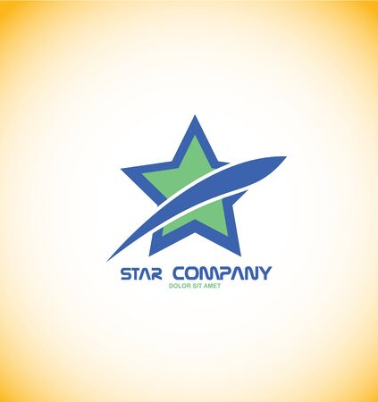 star: company logo icon element template blue star abstract