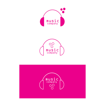 logo music: company logo icon element template music production headphones sound
