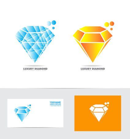 diamong: icon element template diamong stone ring luxury item orange blue