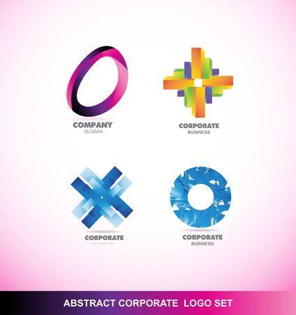 elipse: logotipo de la empresa icono de plantilla elemento abstracto conjunto de negocios corporativos círculo elipse flor azul verde degradado de color naranja