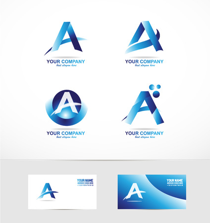 company logo icon element template alphabet letter a blue 3d 向量圖像