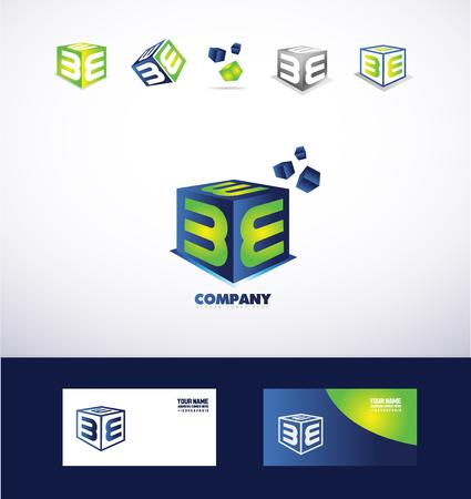 logo icône modèle d'élément alphabet letter e cube défini 3d bleu vert