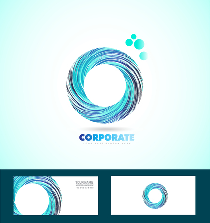 company logo icon element template business corporate 3d circle abstract whirlpool