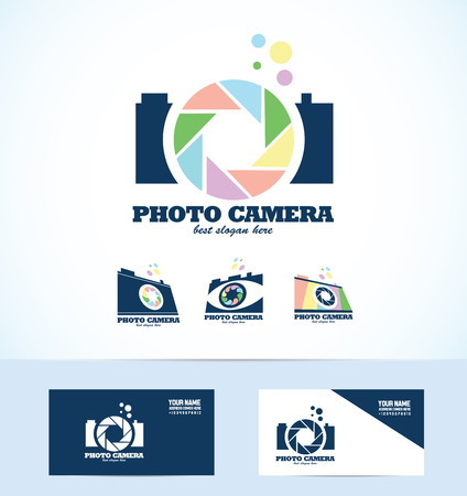 photography logo: company logo icon element template photography camera aperture shutter set photo photographer studio bubble