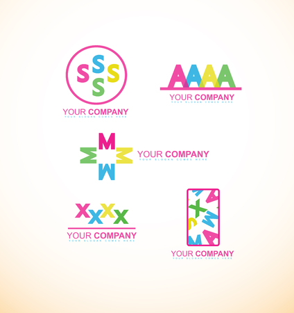 s and m: company logo icon element template letter alphabet s m a x flat set Illustration