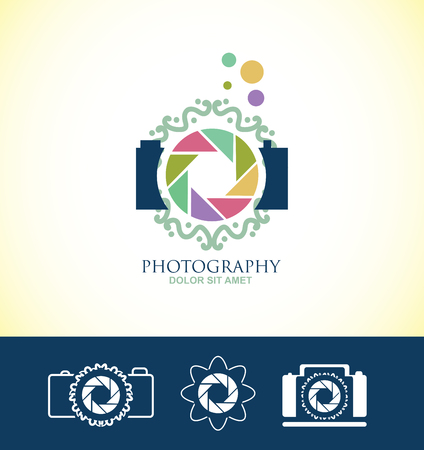 company logo icon element template photography camera shutter aperture monogram floral photographer blue paster colors
