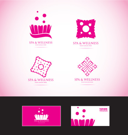 beauty icon: icon element template spa wellness beauty studio flower pink abstract