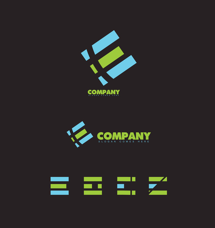 e alphabet: company logo icon element template abstract letter e alphabet on black background Illustration