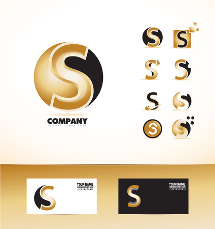 company logo icon element template letter s alphabet sphere gold black Illustration