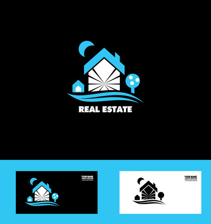 real business: icon element template real estate house roof dog tree home property residential blue white black background