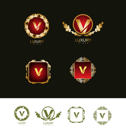 is expensive: icon element template luxury brand item symbol  expensive jewelry jewelery alphabet letter v vintage floral pattern