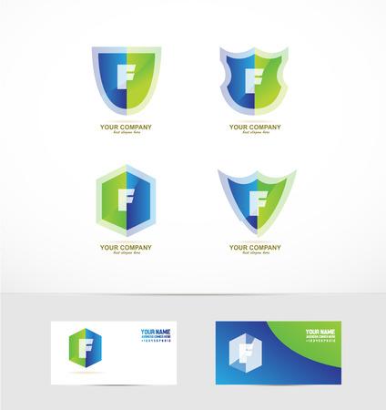 logotipo de la empresa elemento icono plantilla alfabeto letra f escudo conjunto 3d