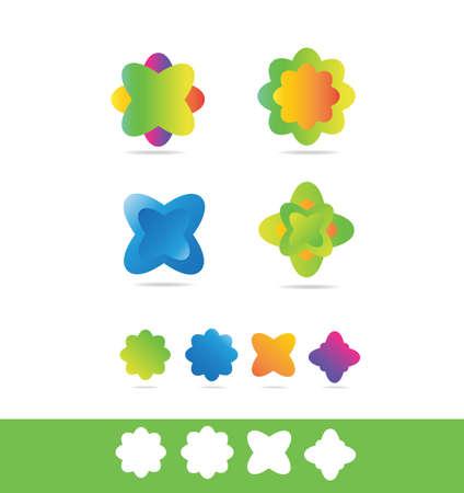florist: company icon element template flower colors colored florist floral