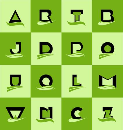 p o w: company  icon element template alphabet letter set flat green black swoosh a r t b j d p o u q l m w n c z geometric