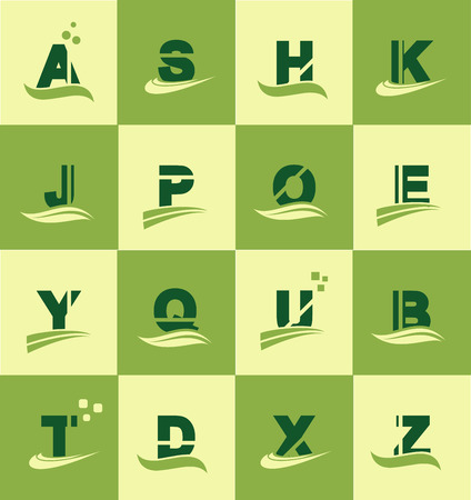 u k: Vetor company icon element template alphabet letter set green yellow swoosh flat a s h k j p o e y q u b t d x z