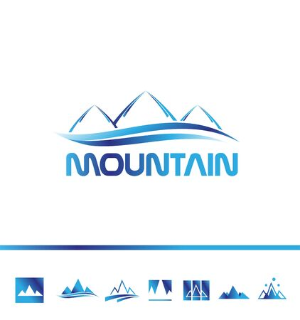 outdoor activities: company icon element template mountain tourism tourist sport outdoor activities travel agency blue peak outline contour text bold set swoosh Illustration