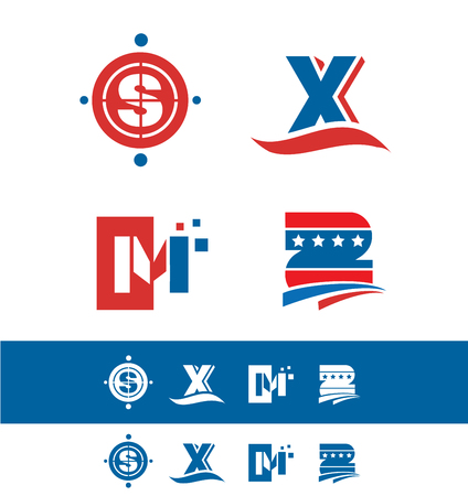 s and m: company icon element template alphabet letter set red blue s x m z star swoosh