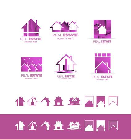 plantilla icono elemento de rosa púrpura compañía de bienes raíces propiedad de la casa de techo de la construcción residencial contorno de línea abstracta