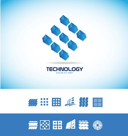 company icon element template technology microchip computer chip data 3d blue Illustration