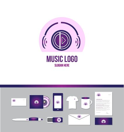 logo music: Corporate identity vector company logo icon element template music production play button headphones sound Illustration