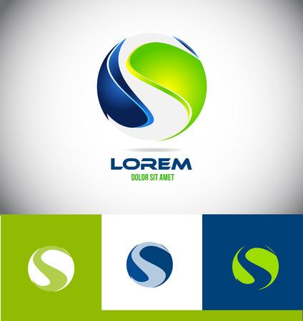 Vector bedrijfslogo pictogramelement sjabloon bol letter van het alfabet s corporate business