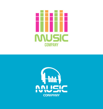 logo music: Vector company logo icon element template music volume headphones producer