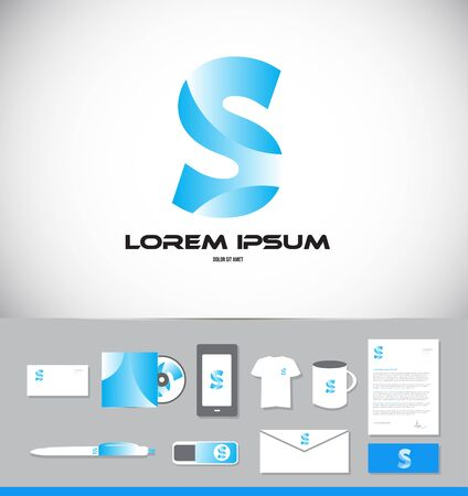 let s: Corporate identity vector company logo icon element template let alphabet letter s blue