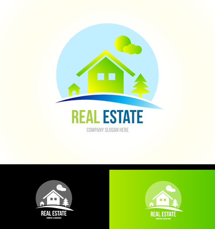 moutain: Vector company logo icon element template real estate house mountain cabin property residential
