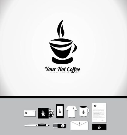 coffee company: Corporate identity vector company logo icon element template hot coffee cup drink shop