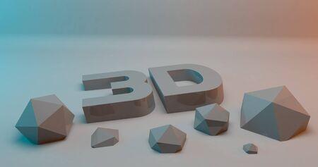 modelling: 3d illustration rendering letter modelling