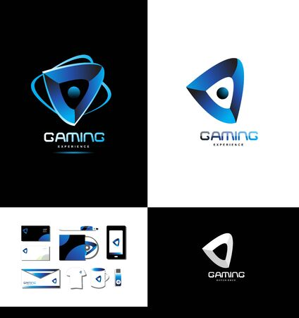 gaming: icon element template games gaming playing abstract blue