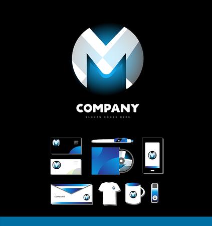 logo element: company logo icon element template alphabet letter m corporate set sphere 3d