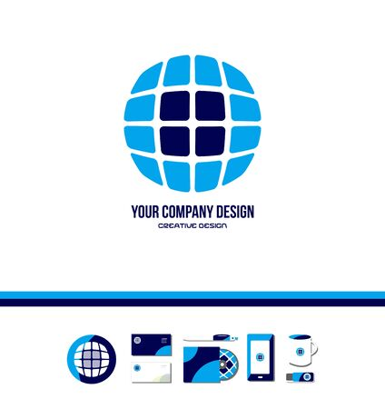 globe grid: company icon element template tech technology globe grid square circle