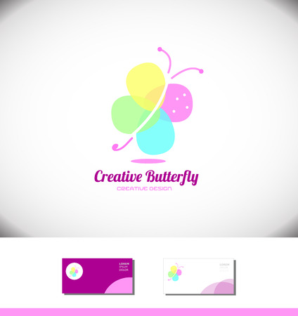 beauty product: Vector company  icon element template abstract colorful butterfly spa beauty product salon Illustration