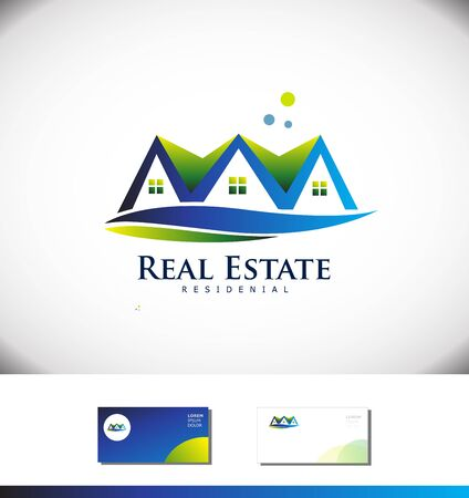 Vector company logo icon element template real estate house  property residential realty construction