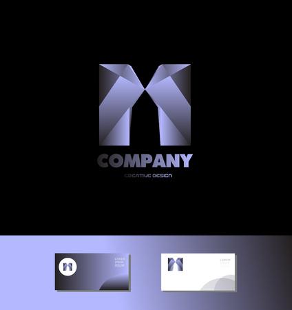 bluish: Vector company logo icon element template alphabet letter m blue metal bluish games media advertising