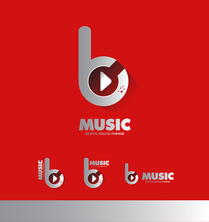 producer: Vector company icon element template music sound recording producer beat play button studio Illustration