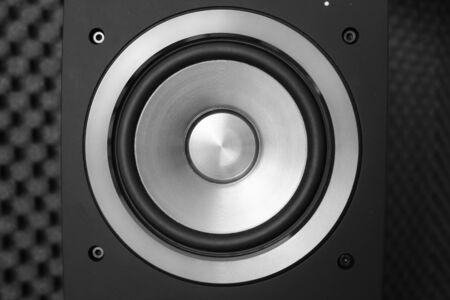 producer: Close up of black studio speaker with sponge audio producer music sound