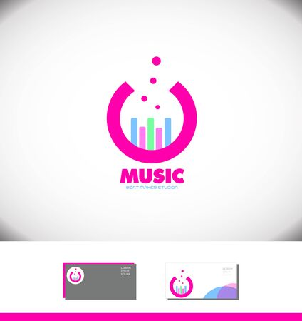 logo music: Vector company logo icon element template music volume pink studio volume bar producer sound Illustration