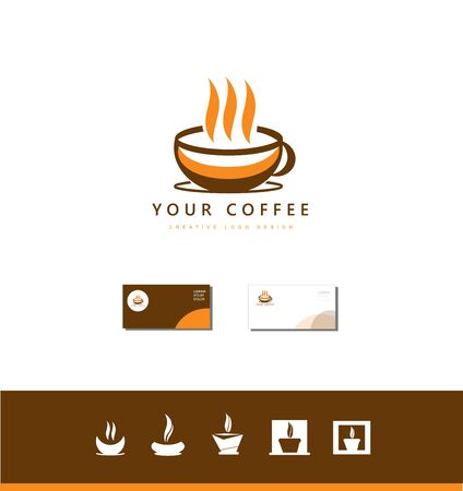 coffee company: Vector company logo icon element template hot brown coffee cup shop set Illustration
